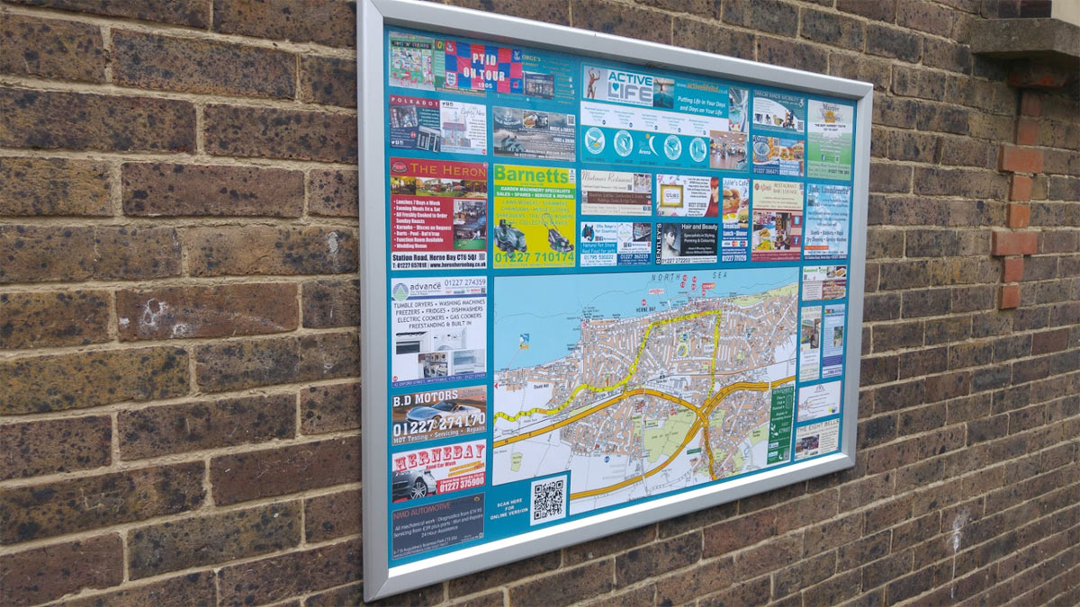 Map of Herne Bay, Kent on wall